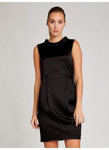Vekem-Limited Edition Kolsuz Saten Mini Elbise Siyah